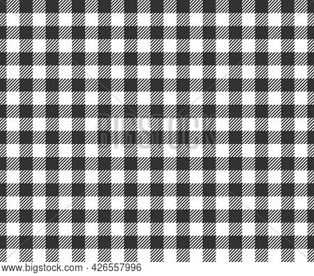 Black And White Checkered Texture With Striped Squares For Picnic Blanket, Tablecloth, Plaid, Shirt