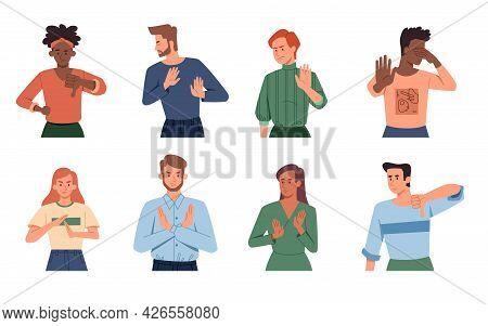 Negative Gestures. Finger Language, Non Verbal Communication. Diverse People Disagree. Rejection Sig