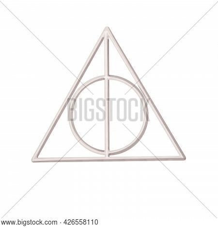 Watercolor Illustration Of Xenophiliuss Deathly Hallows Necklace. Hand Drawn Object