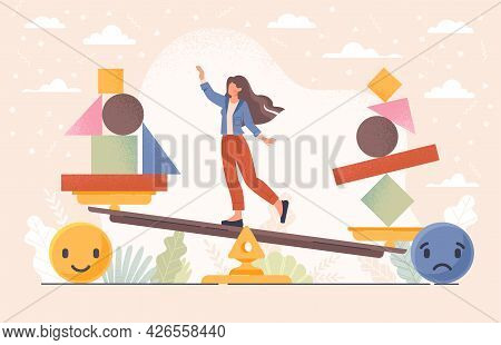 Emotional Balance Concept Vith Balancing Female Character. Good Feeling Choice Over Bad Mood. Unstab