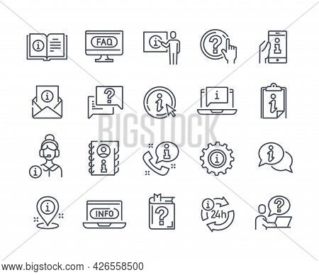 Info And Help Desk Vector Line Icons. Contains Such Icons As Manual, Faq, Info Center, Guide Reading