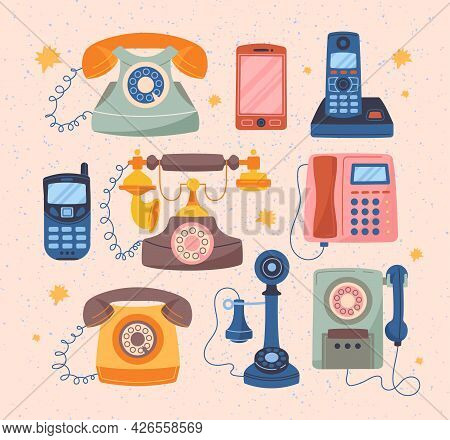 Collection Of Various Classic, Modern And Retro Telephones. Wire, Cell, Smartphones, Mobile Phones.