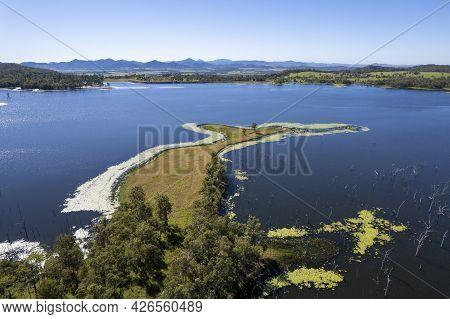 Aerial Landscape Over Water Catchment Environment Of Picturesque Teemburra Dam Queensland Australia