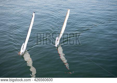 Toy Sailboats Model Ships Sail In Sea, Sailing