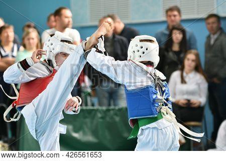 Orenburg, Russia - October 19, 2019: Boys Compete In Taekwondo - Korean Martial Arts