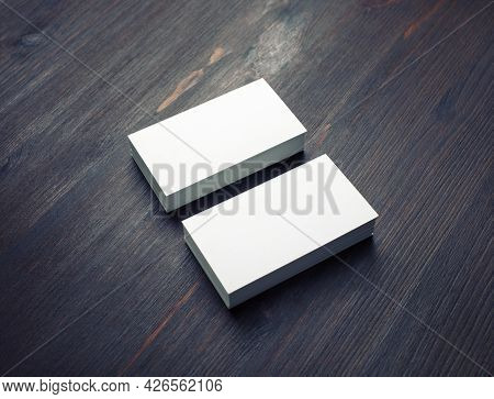 Blank Business Cards On Wood Table Background. Mockup For Branding Identity. Stack Of Blank Business