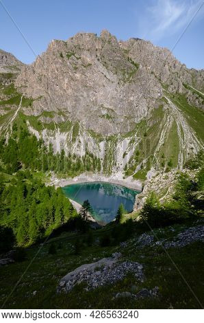 Visaisa Lake, Mountain Lake On The Path To Colle Delle Muine (pass Of Muine) In Maira Valley, Beauti
