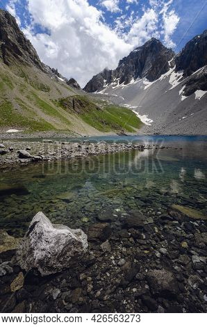 Apsoi Lake, Mountain Lake On The Path To Colle Delle Muine (pass Of Muine) In Maira Valley, Beautifu