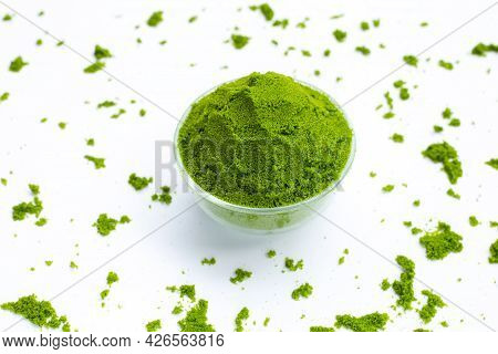 Wolffia Globosa Or Water Meal On White Background.