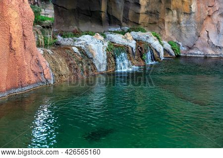 Natural Rocky Terrain With Cascade Of The River . Flowing Water With Waterfall