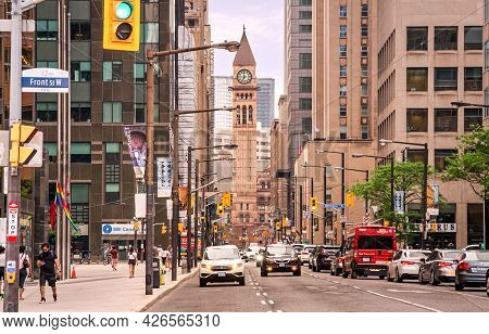 Toronto, Canada - 06 05 2021: Summer View Along Bay Street In Downtown Toronto With Old City Hall, R