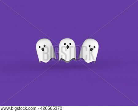 Halloween Ghosts. White Flying Cute Souls Isolated Purple Background. Holiday Celebration 31 October