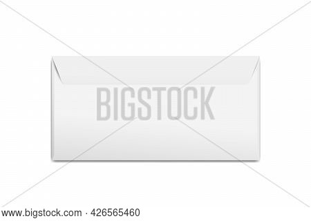 Realistic Blank White Letter Paper E65 Envelope Front View. Vector Blank Close Isolated On White Bac