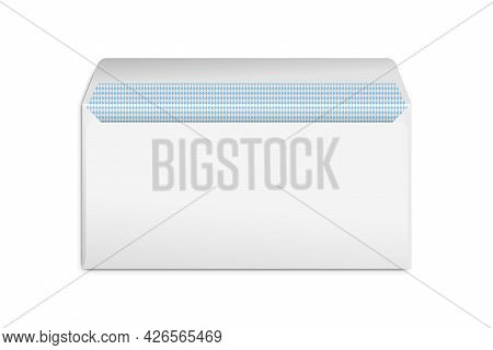 Realistic Blank White Letter Paper E65 Envelope Front View. Vector Blank Open Isolated On White Back