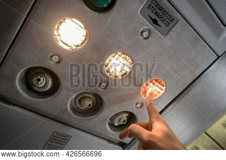 Switzerland - 05.29.2015 - Flight Attendant Call Button. Air Conditioning In The Plane. Air Conditio