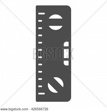 Building Meter Tool Solid Icon, Construction Tools Concept, Spirit Level Ruler Vector Sign On White