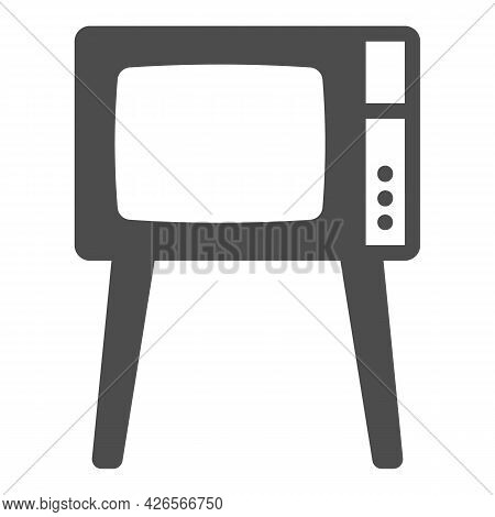 Tv On Legs Solid Icon, Monitors And Tv Concept, Old Fashioned Vintage Tv On Legs Vector Sign On Whit