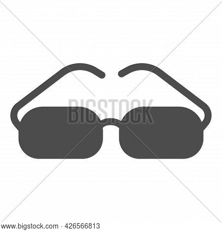 Glasses With Rectangular Lenses Solid Icon, Officesyndrome Concept, Glasses Vector Sign On White Bac