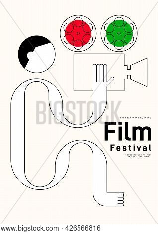 Movie Poster Design Template Background With Outline Vintage Film Camera. Can Be Used For Backdrop,