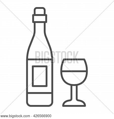 Bottle Wine And Glass Thin Line Icon, Winery Concept, Alcohol Beverage And Wineglass Vector Sign On
