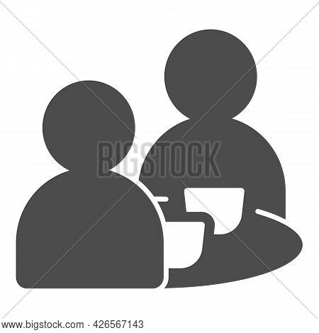 Breakfast With Two People Solid Icon, Englishbreakfast Concept, Two Men Eating Vector Sign On White