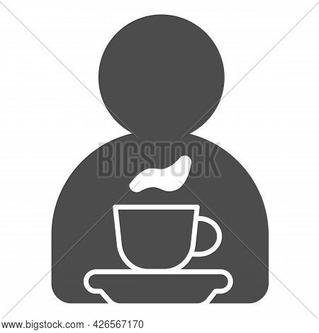 Man, Cup Of Tea On Saucer Solid Icon, Englishbreakfast Concept, Cup Of Tea Vector Sign On White Back