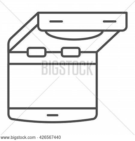 Ceiling Mounted Car Tv Thin Line Icon, Monitors And Tv Concept, Flip Down Tv Vector Sign On White Ba