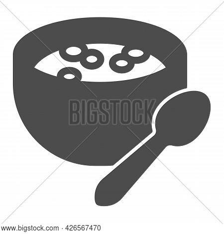 Milk Porridge Solid Icon, Englishbreakfast Concept, Plate With Porridge Vector Sign On White Backgro