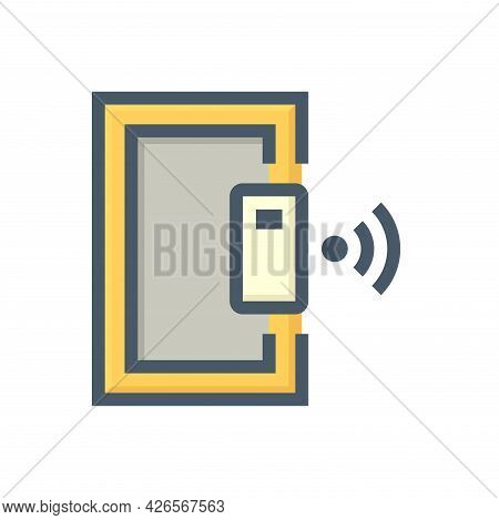 Smart Lock And Door Vector Icon. Security System Technology Consist Of Wireless, Electronic For Lock