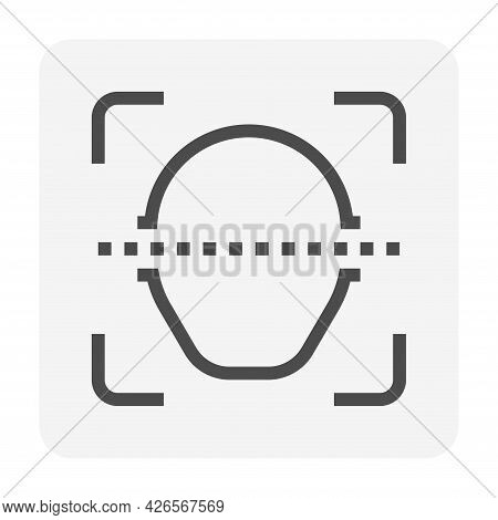 Biometric Facial Recognition System Vector Icon. Security Or Identification Technology. That Person
