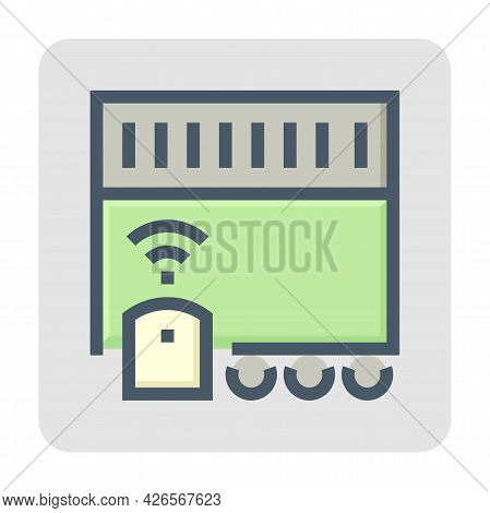 Electric Gate Vector Icon. Motorized Sliding Door Consist Of Wifi, Electronics System, Motor, Sensor