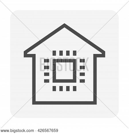 Smart Home Or Home Automation Vector Icon Consist Of Home Or House And Microchip. Technology Process