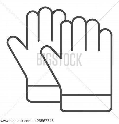 Protective Gloves Thin Line Icon, Construction Tools Concept, Construction Safety Gloves Vector Sign