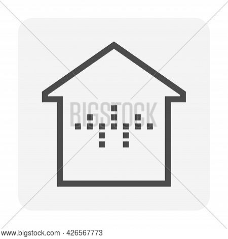 Smart Home Vector Icon. Consist Of Home Or House Building, Waveform Of Voice Assistant Or Recognitio