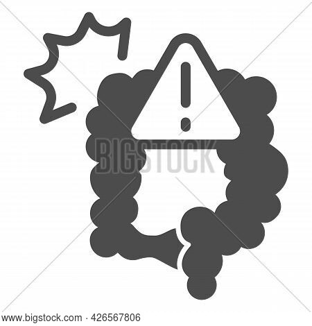 Pain And Bowel Problems Solid Icon, Officesyndrome Concept, Pain, Bowel Problems Vector Sign On Whit