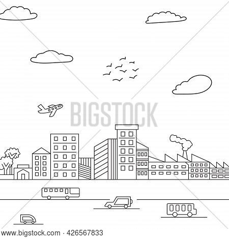 Sketch Cute City Coloring Page Illustration. Coloring Book Page Town Street Theme. Black City Isolat