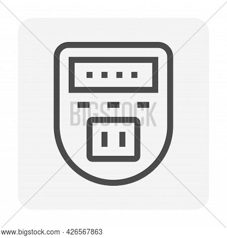 Digital Timer Switch Vector Icon. Programmable Electronic Hardware With Clock, Power Plug Socket Ele