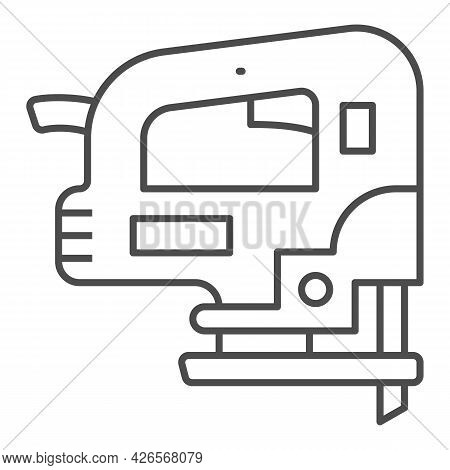 Jigsaw Thin Line Icon, Construction Tools Concept, D Handle Jig Saw Vector Sign On White Background,