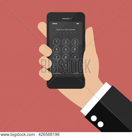 Hand Holding Smartphone With Login Screen And Entering Passcode. Vector Illustration