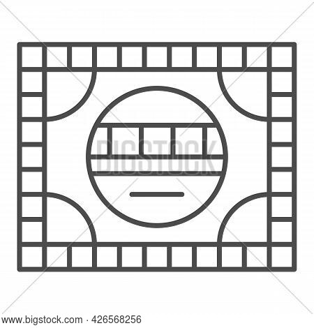 Setting Table Thin Line Icon, Monitors And Tv Concept, Electronic Configuration Vector Sign On White