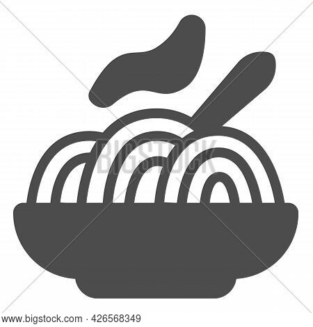 Plate Of Noodles Solid Icon, Englishbreakfast Concept, Noodles Vector Sign On White Background, Plat