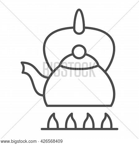 Kettle On Fire Thin Line Icon, Kitchen Ware Concept, Teapot On Gas Stove Vector Sign On White Backgr