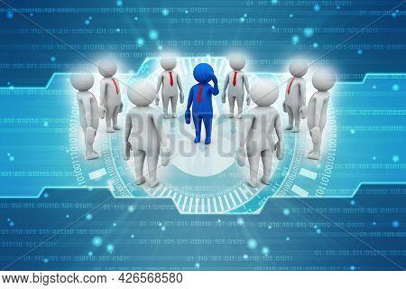 Business Network Concept,leader,leadership Concept,business Communication. 3d Rendering