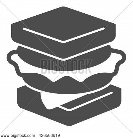 Sandwich With Sausage Solid Icon, Englishbreakfast Concept, Sandwich With Cheese Vector Sign On Whit