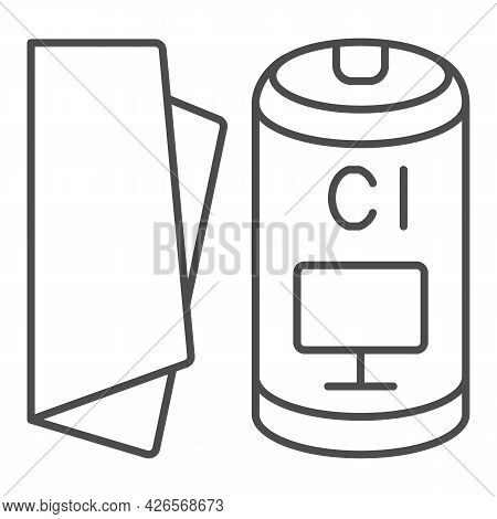 Cloth For Monitor Thin Line Icon, Monitors And Tv Concept, Screen Cleaning Cloth Vector Sign On Whit