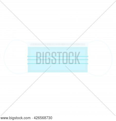 Disposable Blue Medical Mask, Medicine And Protection Concept. Vector Illustration