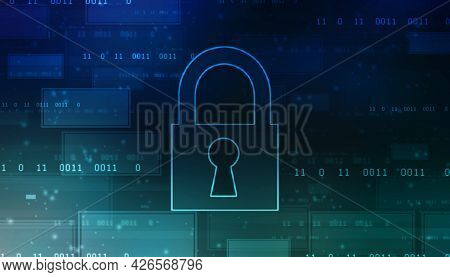 Closed Padlock On Digital Background, Technology Security Concept. Cyber Security And Network Protec