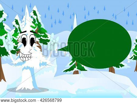 Cartoon Winter Pine Trees With Faces With Hands In Rocker Pose. Cute Forest Trees.white Pine Charact