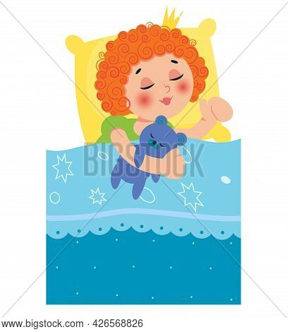 Girl Sleeping In Bed After A Pajama Party. Vector Illustration. Can Be Used For Invitations, Flyers