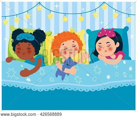 Girls Sleeping In Bed After A Pajama Party. Children Of Different Nationalities. Vector Illustration